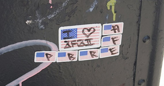 I Heart On Flag Sticker